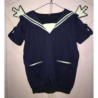 Cute Sailor Oversized Top with Sweater Hem