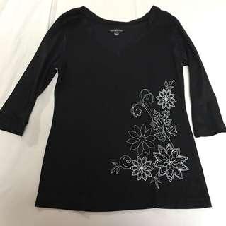Black three fourth sleeves cotton shirt