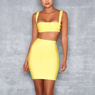NEW Mistress Rocks Yellow Bandage Crop and Skirt Set