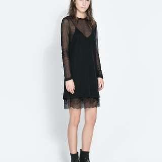 ZARA Basic Slip-On Dress with Lace Detail
