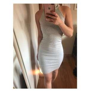 KOOKAI GREY MARBLE LILI DRESS BODYCON TURTLE NECK SIZE 1
