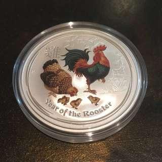 澳洲雞年銀幣 彩色加印 批發架接受郵寄