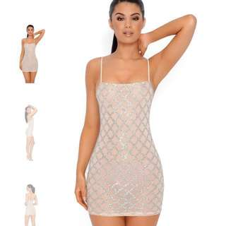 SHIMMER AND SHAKE EMBELLISHED LATTICE MINI DRESS IN NUDE