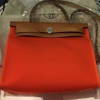 Hermes Herbag Poppy Orange Zip 31