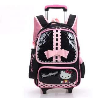 Trolley School Bag - Hello Kitty (Black)