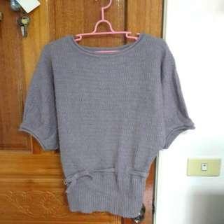 韓版藕紫色毛線上衣