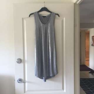 """Silver racer back t-shirt dress. Size M (size 10). I am 5""""3 and it sits about 2cm above my knee. I wore it one night for a fancy dress so it's like new."""