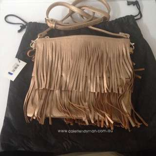 Collete Gold Tassle Fringe Bag