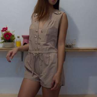 Tan Romper with Gold Buttons