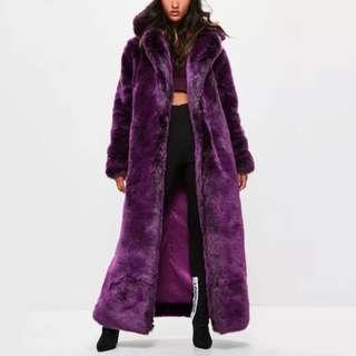 RRP $500 NEW Londunn x Missguided Purple Faux Fur Coat