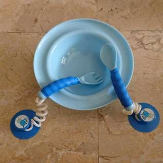 Suction Bowl + Fork and Spoon Free Gyro Bowl