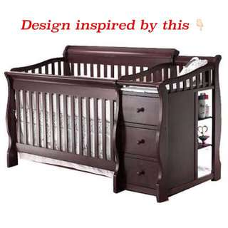 Crib with Diaper Changing table & Drawers