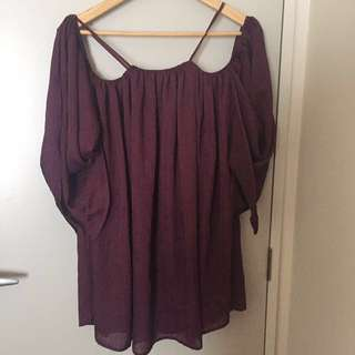 Burgundy of shoulder dress