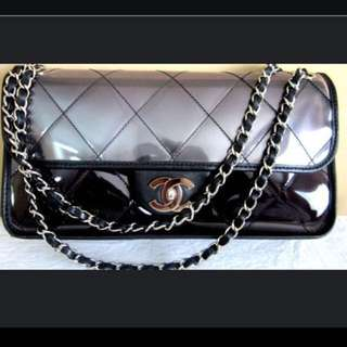 Chanel Black Quilted Flap Bag Logo cc 2.55 clear SHW PVC Large Lambskin Jumbo