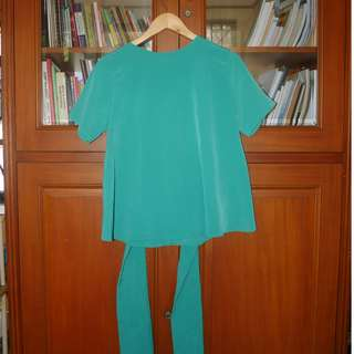GREEN TOSCA TIED SHORT SLEEVE / BLOUSE
