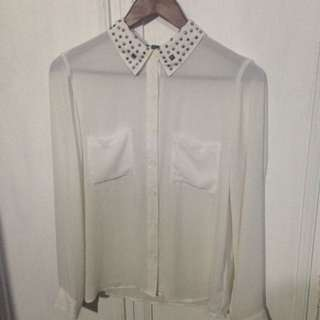 F21 Studded Collar Blouse
