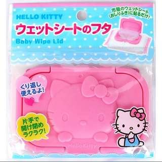 🚚 日本帶回~三麗鷗 Hellokitty 凱蒂貓 濕紙巾蓋 大包裝用濕紙巾蓋 隨身攜帶用濕紙巾蓋 兩種尺寸(可重覆使用)
