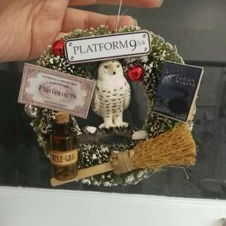 Handmade Harry Potter Themed Miniature Tree Ornament Wreath