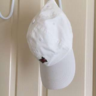 White Baseball hat with a Rose