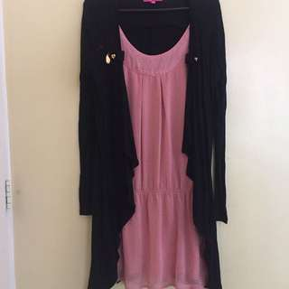 Candies pink blouse with black cardigan