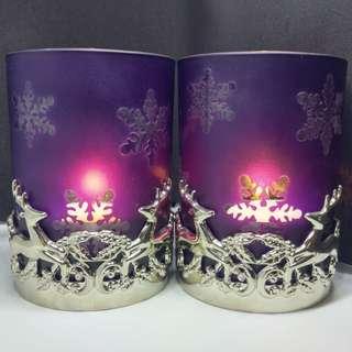 Christmas Tealight Holders Purple x 2