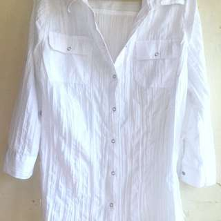 (A14) White Crumpled Blouse With Collar