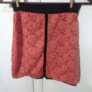 Cotton On Coral Lace Skirt