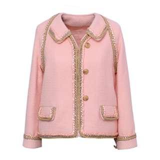 CHANEL同款粉色金邊鉤花毛呢外套