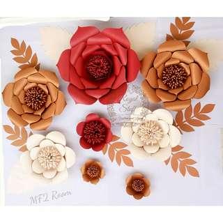 Paket hemat Paper flower backdrop dekorasi lamaran photobooth pesta bazar bunga kertas