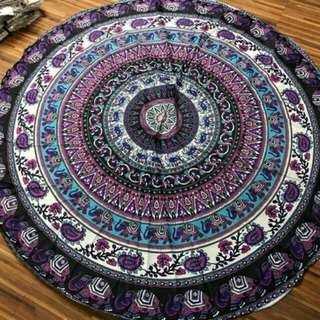 (On hand) Round Beach Towel Indian Mandala Design