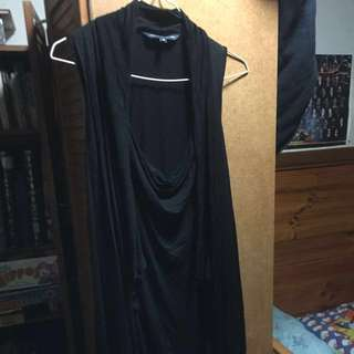 Beautiful black cowl neck dress draped waterfall sides - French Connection size 10