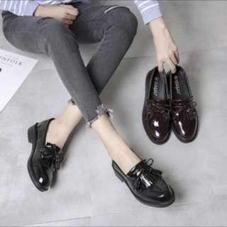 復古英倫漆皮黑鞋