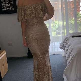 Gold lace evening formal off the shoulder long dress - size 8