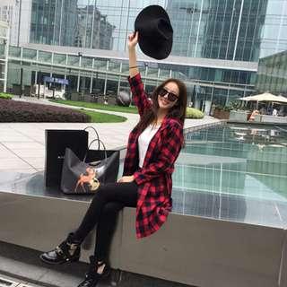 秋裝紅黑格子風衣韓版休閒寬鬆中長款外套