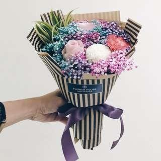 3s Rose Baby's Breath Bouquet