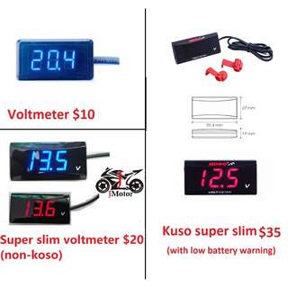 Super Slim Style Koso Voltmeter Motorcycle / Motorbike Car Battery Waterproof Super Slim Style Koso Voltmeter Motorcycle / Motorbike Car Battery Waterproof
