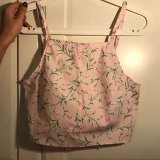 Tie-back Floral Crop Top