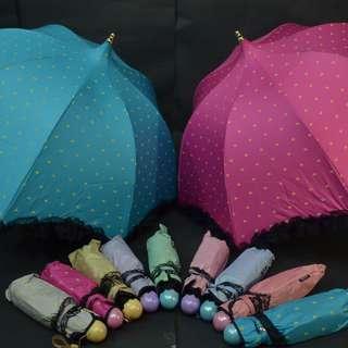 Payung lipat UV Apollo Hati/Love dilengkapi Renda hitam