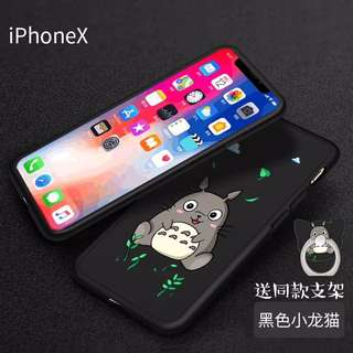 Iphone x cartoon casing free screen protector