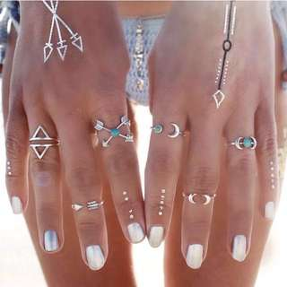 🎉 Boho Ring Set (Silver) w/ FREE POSTAGE