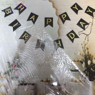 HAPPY BIRTHDAY BANNER GOLD AND BLACK
