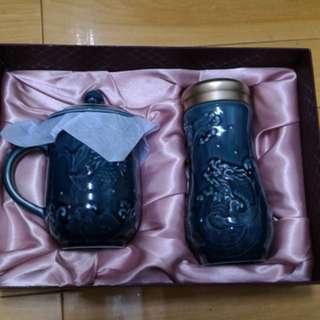乾唐軒 活瓷 魚躍龍門高杯 礦藍 + 魚躍龍門隨身杯 礦藍 大 雙層 杯子組 茶杯