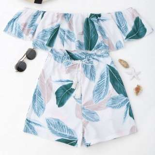 Leaf Print Off Shoulder Playsuit
