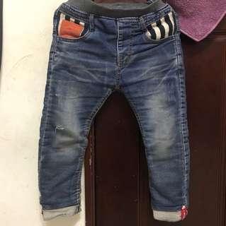 男童內刷毛牛仔長褲