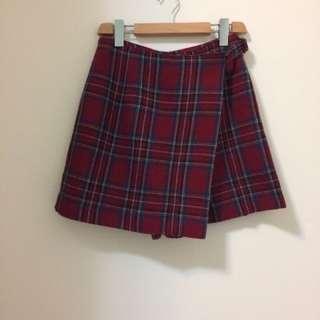 專櫃FREE 紅格紋毛料褲裙