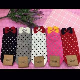 🚚 韓國帶回~點點風 立體蝴蝶結造型 短襪 腳踝襪
