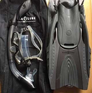 FOR SALE! Complete Aqualung Snorkeling Set (black)