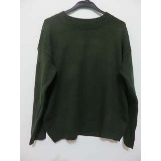 🚚 軍綠素面針織毛衣
