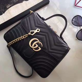 Gucci GG Marmont Chevron Quilted Top-Handle Bag