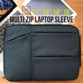 INSTOCKS PREMIUM Laptop Cover Sleeve With inner padding MacBook sleeve multi zip handle blue black